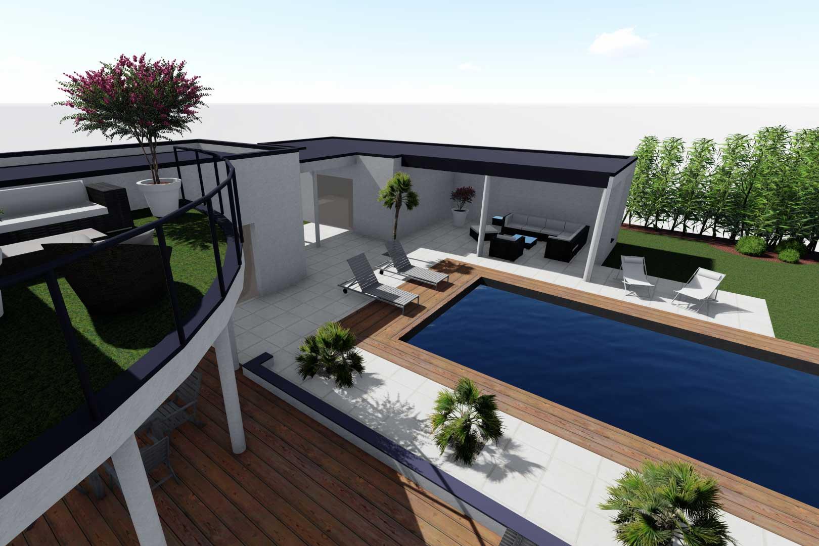 Serrault Jardins réalise des terrasses bois et abords de piscine.