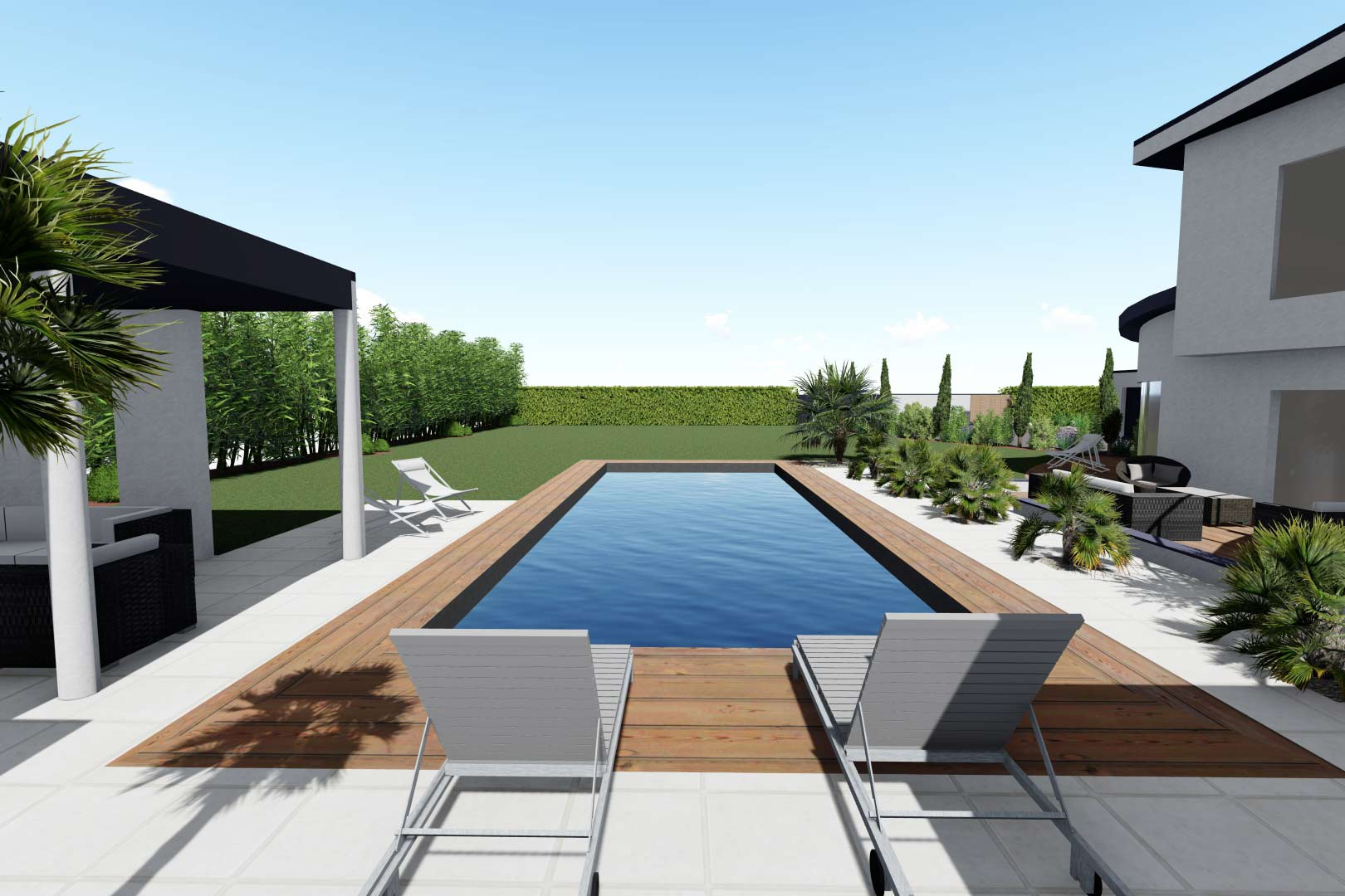 Serrault Jardins conçoit des plans de jardin en 3D.