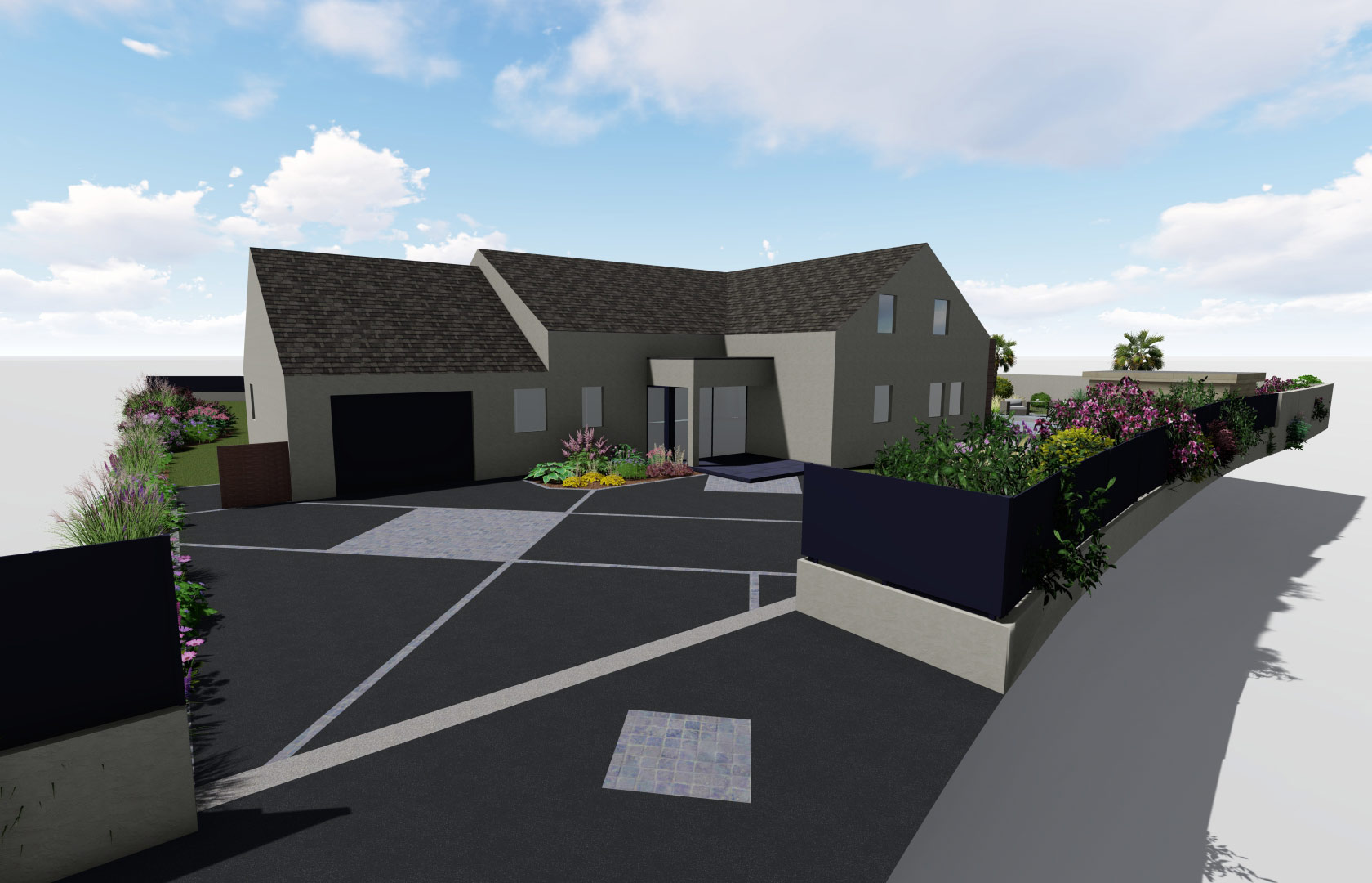 Serrault Jardins, imagine votre accès de garage en enrobé et pierres bleues.
