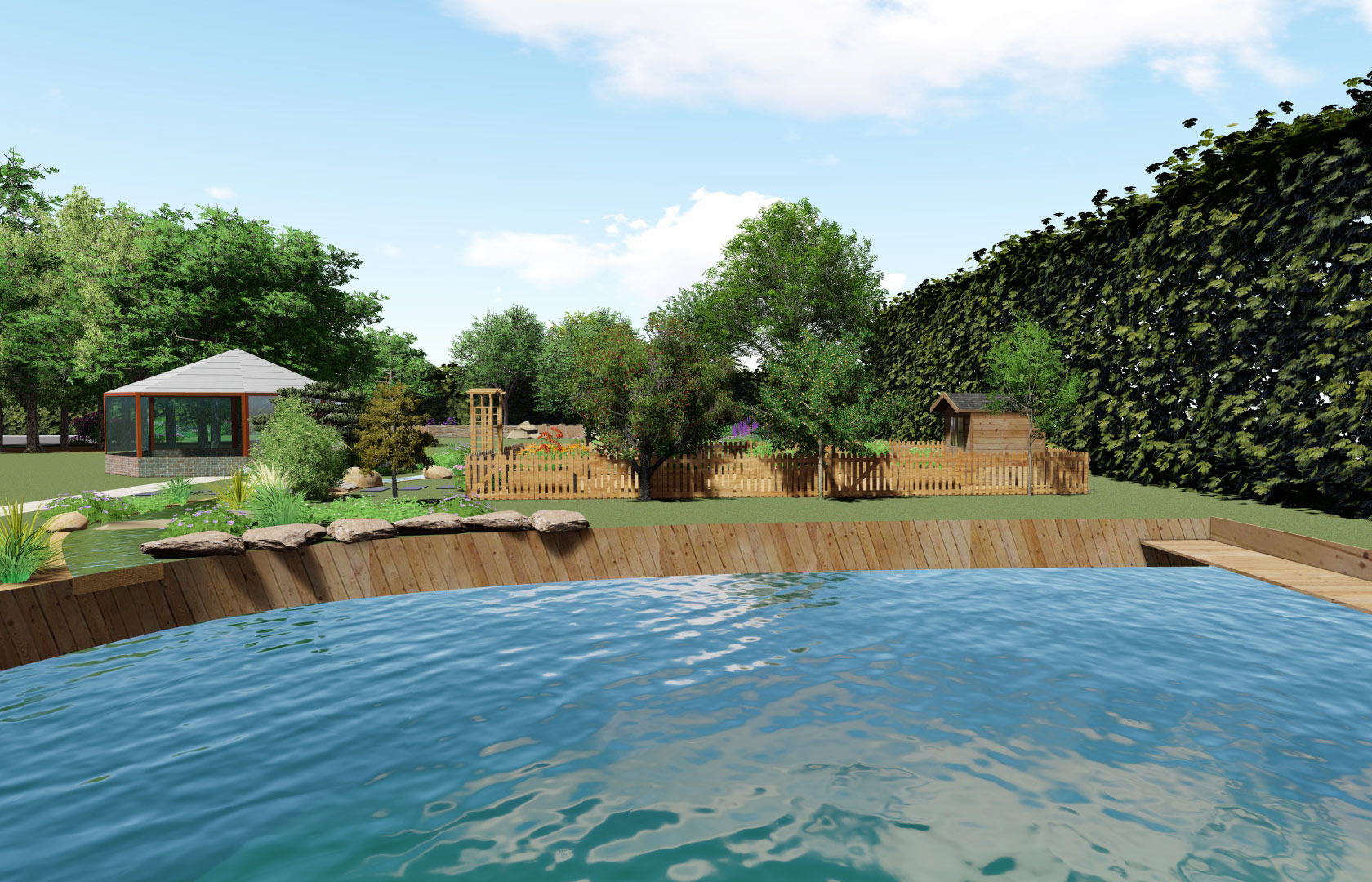 Serrault Jardins, aménage des bassins.