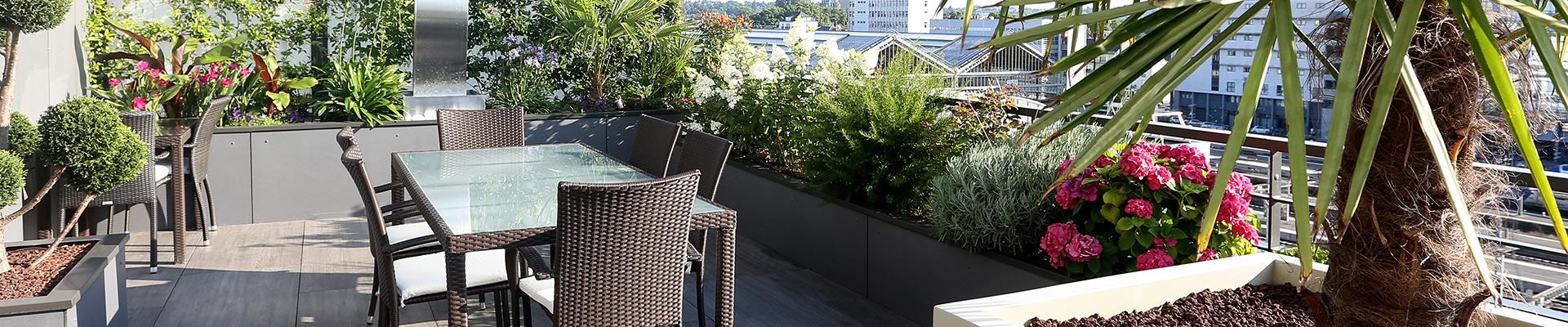 Serrault Jardins vous propose l'aménagement paysager de votre balcon terrasse.